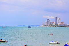 Pattaya Beach And City Skyline, Pattaya, Thailand Stock Photos