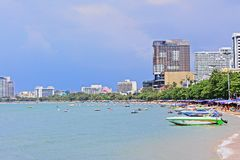 Pattaya Beach And City Skyline, Pattaya, Thailand Royalty Free Stock Photography