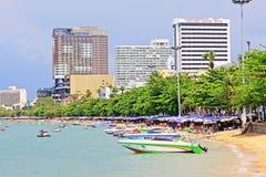 Pattaya Beach And City Skyline, Pattaya, Thailand Royalty Free Stock Images