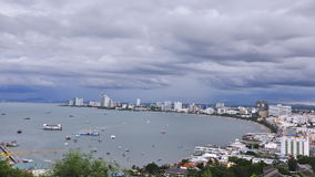 Pattaya beach with cloud sky Royalty Free Stock Photo