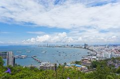 Pattaya Beach. From the scenic spot on the hill,Thailand stock image