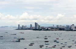 Pattaya Beach. From the point of view, see many speedboats,Thailand stock image