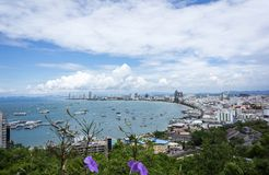 Pattaya Beach. From the scenic spot on the hill,Thailand royalty free stock photos