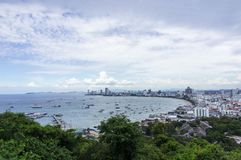 Pattaya Beach. From the scenic spot on the hill,Thailand royalty free stock photo