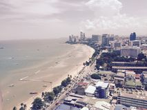 Pattaya Breach. Arial view from the top floor of a major hotelhotel Royalty Free Stock Photo