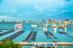 Pattaya-Bucht und -strand in Thailand Stockfotos