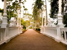 Pattaya Chonburi, Thailand, July 2017 : the walk way to wax figure museum at Wat Yannasangwararam Stock Photography
