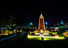 Night photography of Wat Thammamongkhon at miniature park is an open space that displays miniature buildings and models. PATTAYA CITY, CHONBURI PROVINCE royalty free stock image