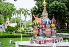 St. Basil`s cathedral Moscow Russia at miniature park is an open space that displays miniature buildings and models. PATTAYA CITY, CHONBURI PROVINCE, THAILAND royalty free stock images