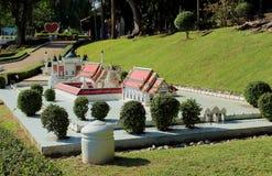 Miniature park reproduce in Pattaya. Pattaya City, Chonburi Province, Thailand - Mart 17, 2018: view on replica Phra Borom That Chaiya, Surat Thani and Pattani Stock Photo