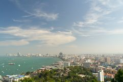 Pattaya City with clear blue sky. Seaside Pattaya city landscape view with clear blue sky and ships in the sea Stock Image