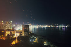 Pattaya City and Sea in Twilight Royalty Free Stock Photography
