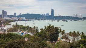 Pattaya City Skyline. Pattaya city beach skyline and bay view in the southeast asian country of Thailand royalty free stock image