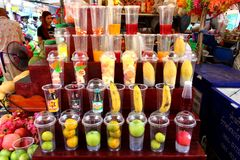 Assortment of fruits for smoothies stock photo