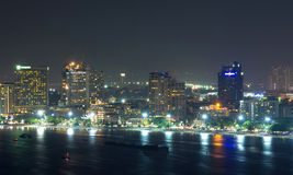 Pattaya cityscape Modern building sea beach side at night time,T. Hailand Stock Photos