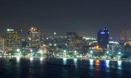 Pattaya cityscape Modern building sea beach side at night time,T Stock Photos