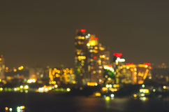 Pattaya cityscape at night time, Blurred Photo bokeh Stock Photo