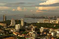 Pattaya cityscape on sunset show beach curve. And bay royalty free stock photography
