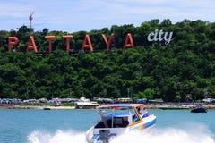 pattaya för strandfartygstad hav Royaltyfri Fotografi