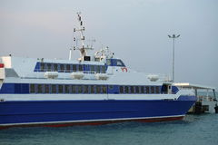 Pattaya Ferry. The blue ferry from Pattaya to Hua Hin Stock Photo