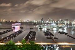Pattaya fjärd och strand i Thailand Arkivbild