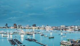 Pattaya fjärd och strand i Thailand Royaltyfri Bild