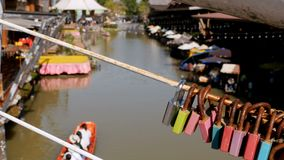 Pattaya Floating Market. Tourist Wooden Boat moving along the Water. Thailand, Asia. Pattaya Floating Market. Small Tourist Wooden Boat with the Chinese are stock video