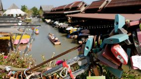 Pattaya Floating Market. Tourist Wooden Boat moving along the Water. Thailand, Asia. Pattaya Floating Market. Small Tourist Wooden Boat with the Chinese are stock footage