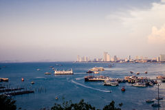 Pattaya Harbor and city view in the sunset. Stock Photography