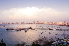 Pattaya Harbor and city view in the sunset. Royalty Free Stock Photos