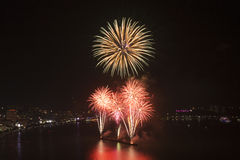 2015 Pattaya International fire work Royalty Free Stock Images