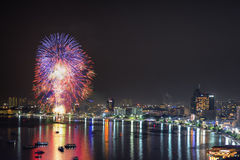 Pattaya International Fireworks 2014. At Pattaya Beach, this picture was captured from the viewpoint of Pra tam Hnak Hill Stock Image