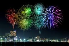 Pattaya International Fireworks Festival atThailand Stock Photography
