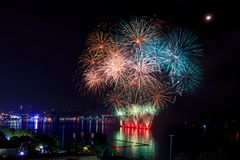 Pattaya International Fireworks Festival. Fireworks light up the night sky Stock Images