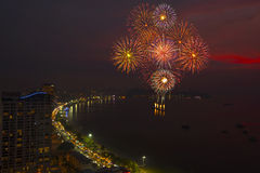 Pattaya International Fireworks Festival at night Royalty Free Stock Photos
