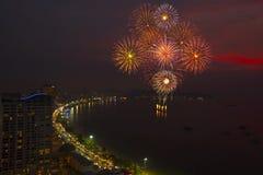 Pattaya International Fireworks Festival at night Royalty Free Stock Photos