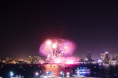 Pattaya International Fireworks Festival 2015 Stock Photography