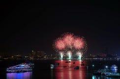 Pattaya internationell fyrverkerifestival Arkivbilder
