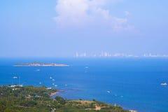 Pattaya miasta i plaży ptasiego oka widok, Chonburi, Zdjęcia Royalty Free