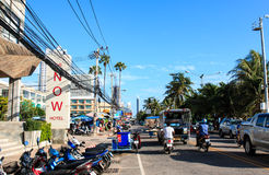 PATTAYA - OCTOBER 11: The building and Seafront road in day time Royalty Free Stock Image