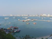Pattaya scenery with coast, building, and Bali Hai pier stock image