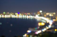 Pattaya seascape at twilight time, Blurred Photo bokeh Stock Photo