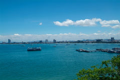 Pattaya skyline. Pattaya in Thailand and the Pattaya bay seen from south-west of the city Royalty Free Stock Images