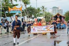 Pattaya som svävar marknaden, ståtar marsch i internationell flotta R Royaltyfria Bilder