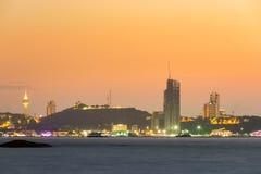 Pattaya stad i solnedgångtid Royaltyfri Bild