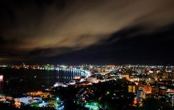 Pattaya stad på natten Royaltyfri Fotografi