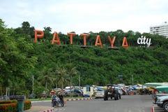 Pattaya stadstecken Fotografering för Bildbyråer