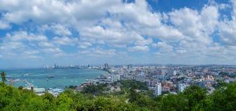 Pattaya strandpanoramor Arkivbilder