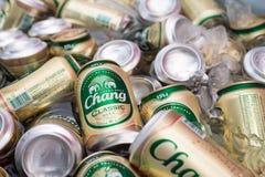 Pattaya, TAILANDIA - 18 de junio de 2016: Las latas de chang de la cerveza en helado son la cerveza más famosa Fotos de archivo libres de regalías