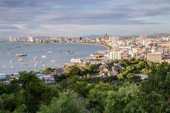 Pattaya, Tajlandia - 08 22 2015: Panorama Pattaya, miejscowość wypoczynkowa na brzegowym Tajlandia dniem Zdjęcie Stock